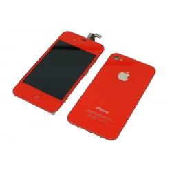 Kit Rouge Phone 4S - écran LCD + vitre tactile assemblée + Coque arrière