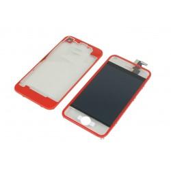 Kit Transparent Rouge iPhone 4 - Vitre tactile + LCD assemblé + coque arrière
