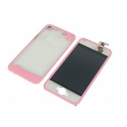 Kit Transparent Rose iPhone 4 - vitre tactile + LCD assemblé + Coque arrière