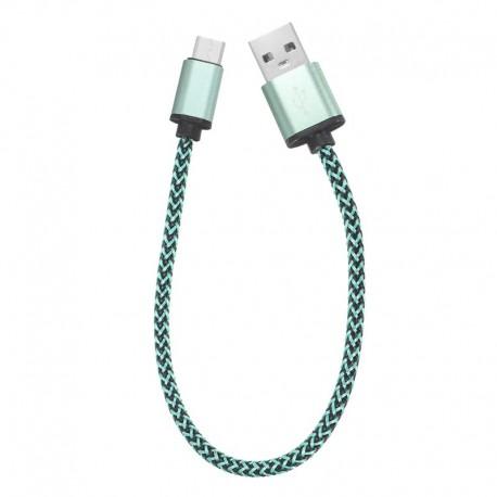 Câble en Nylon Tressé 0.3 mètre Type-C USB charge et transfert rapide 2A