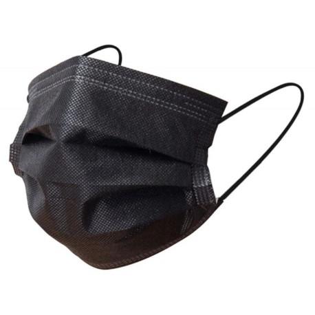 Lot x 50 masques Noir 3 plis jetables Non-tissé anti covid-19