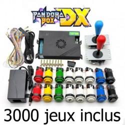 Pandora boîte DX 3000 avec  joystick américain HAPP et   bouton poussoir inclus 3000 jeux