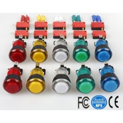 Boutons poussoirs Lumineux led  10 pièces choix de 5 couleurs pour arcade