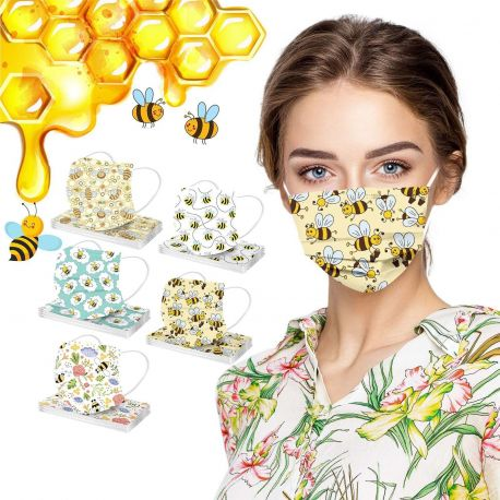 Masques chirurgicaux de protection aux motifs Abeilles 10 modèles au choix