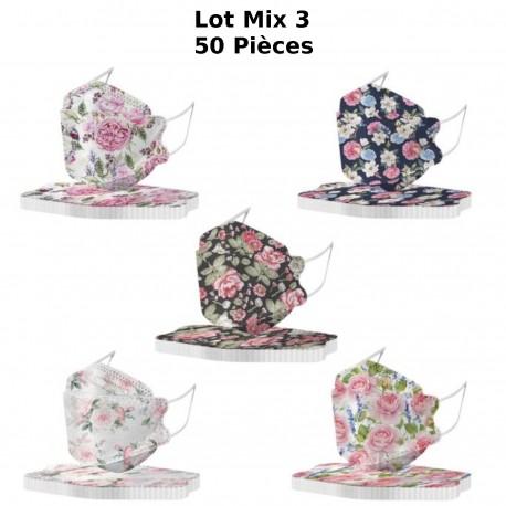 Masque de protection 4 couches KF94 décoration Floral, Fleurs imprimés, Printemps Ete 2021