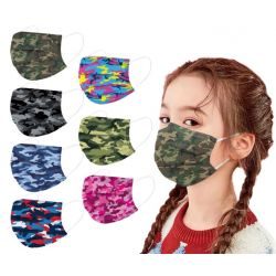 Masques chirurgicaux Enfants style Camouflage, jetables 3 couches à prix discount