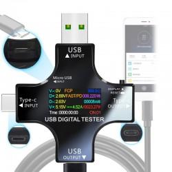 Voltmètre numérique DC 12 en 1 USB, testeur de tension de courant, Type C, ampèremètre
